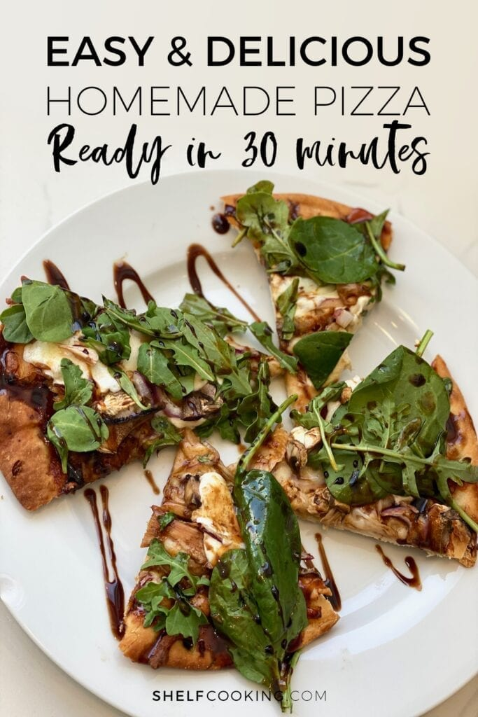 Homemade pizza drizzled with balsamic glaze, from Shelf Cooking