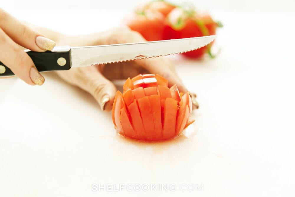 knife cutting a tomato, from Shelf Cooking
