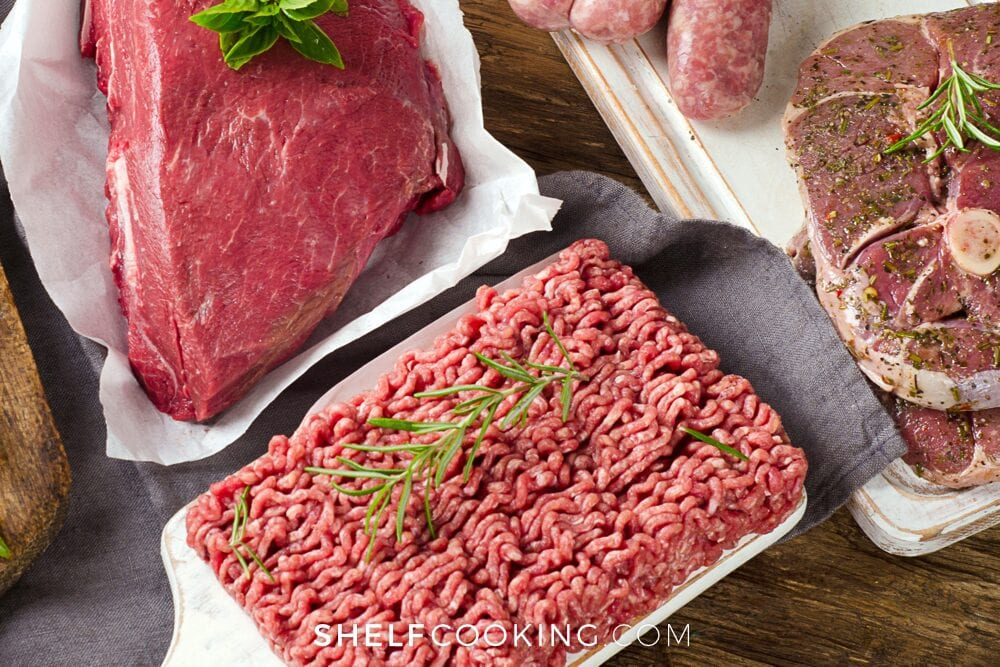 ground beef on a counter, from Shelf Cooking
