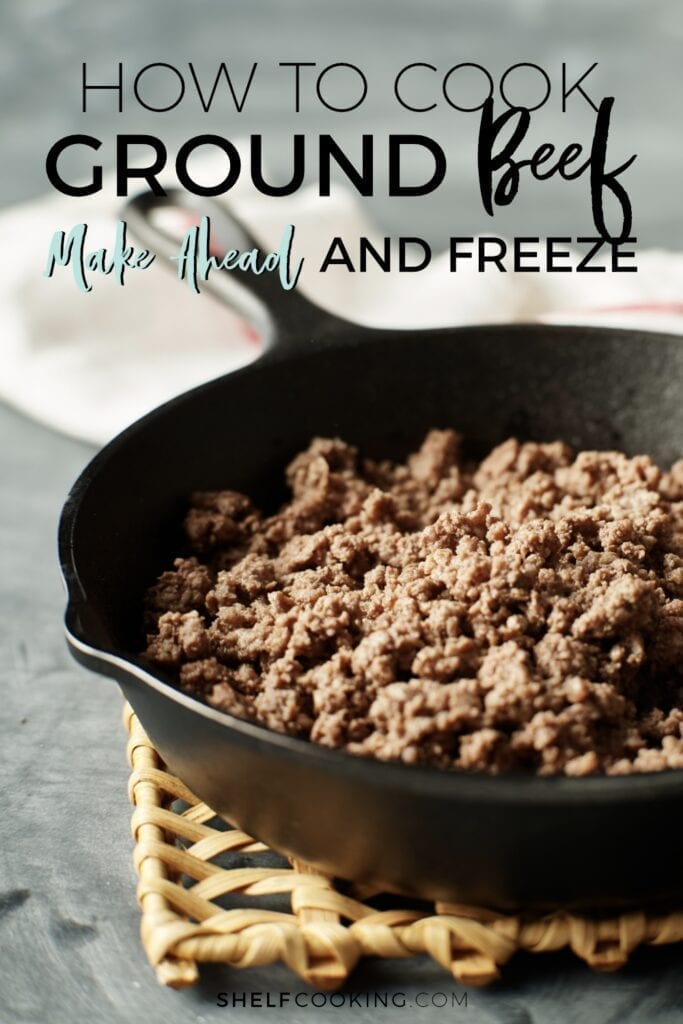 ground beef in a cast iron pan, from Shelf Cooking