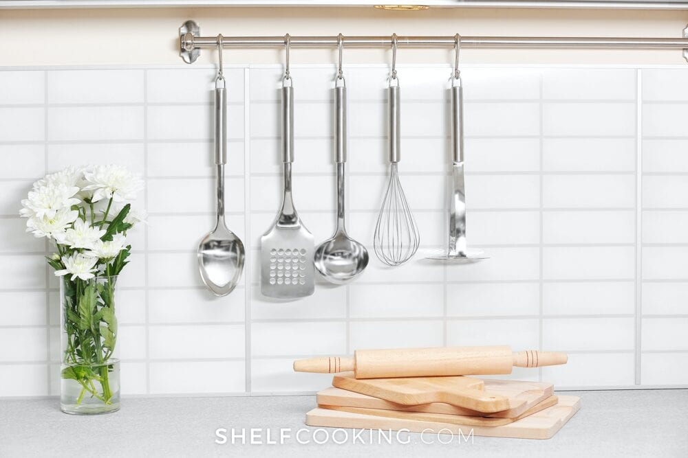 kitchen organization on a wall, from Shelf Cooking