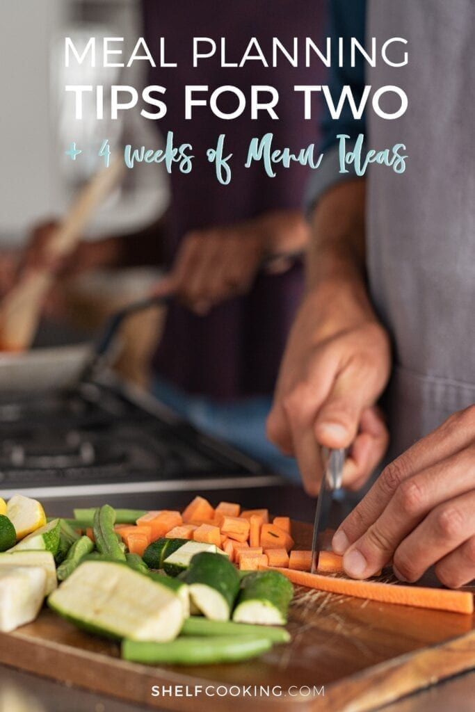 Couple dicing vegetables and cooking on a stove, from Shelf Cooking