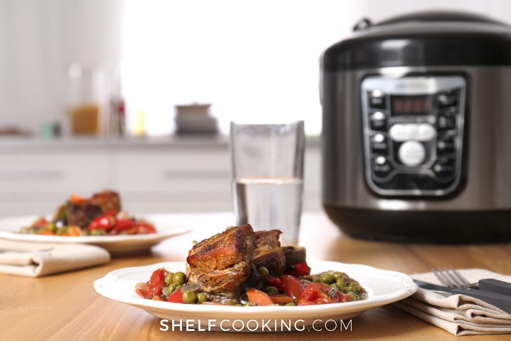 Pressure cooker on a counter, from Shelf Cooking