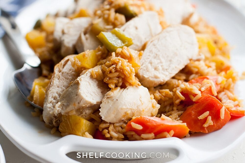 chicken and rice on a plate, from Shelf Cooking