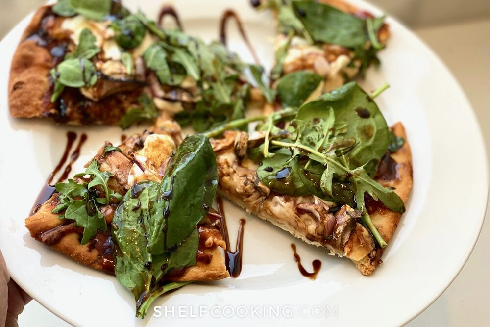 Homemade pizza on a plate, from Shelf Cooking