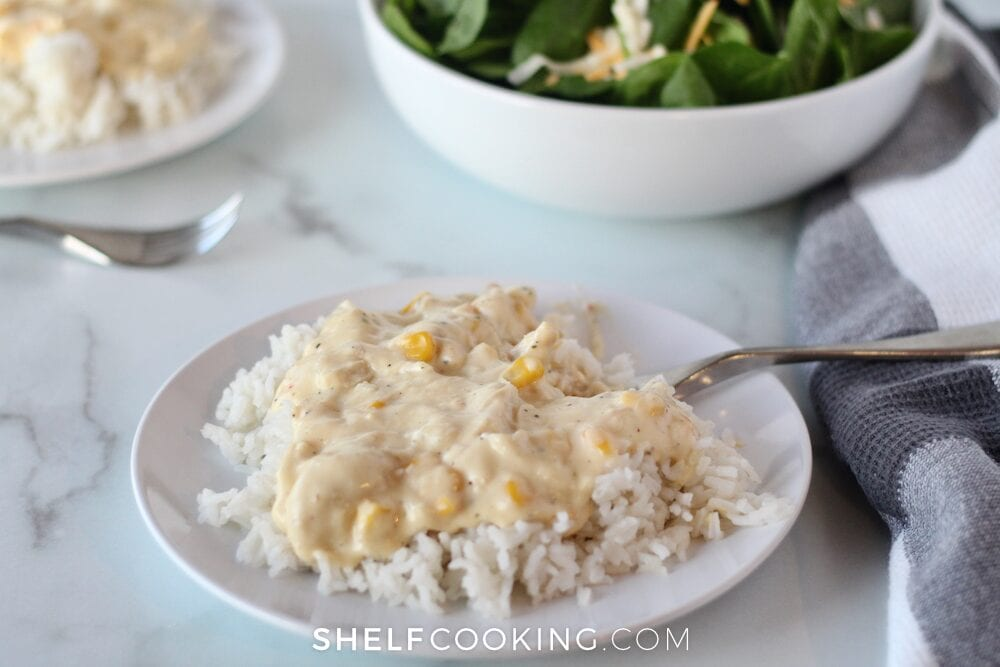 creamy chicken over rice, from Shelf Cooking