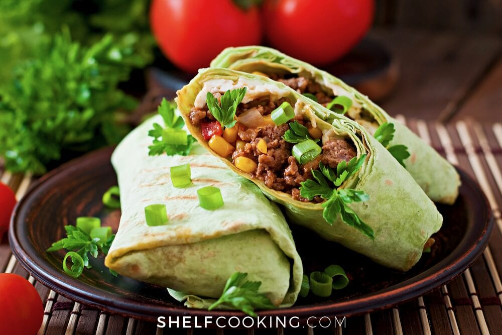 beef burrito on a plate, from Shelf Cooking