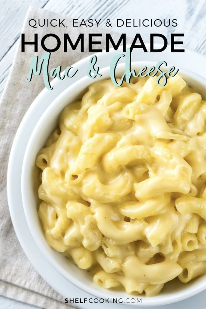 Homemade macaroni and cheese in a dish, from Shelf Cooking