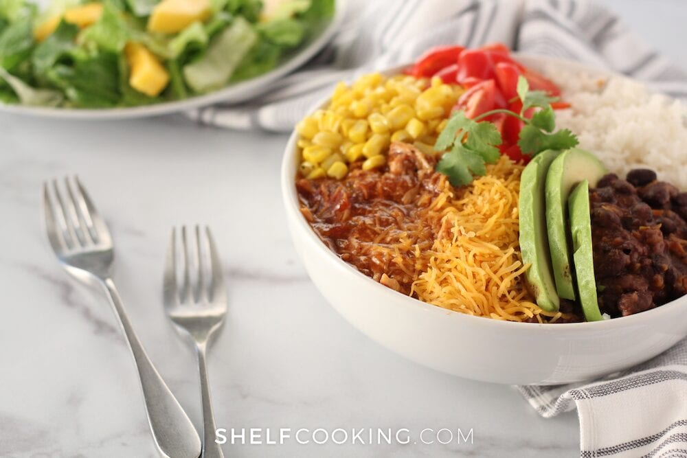 Pulled pork rice bowl, from Shelf Cooking
