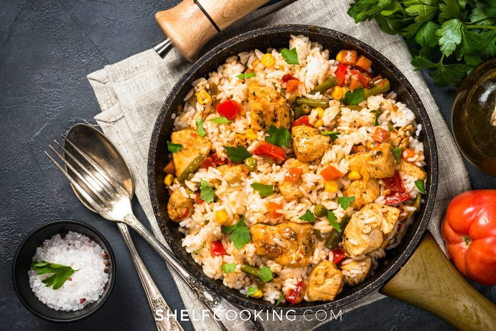 Leftover rice recipe in a skillet, from Shelf Cooking