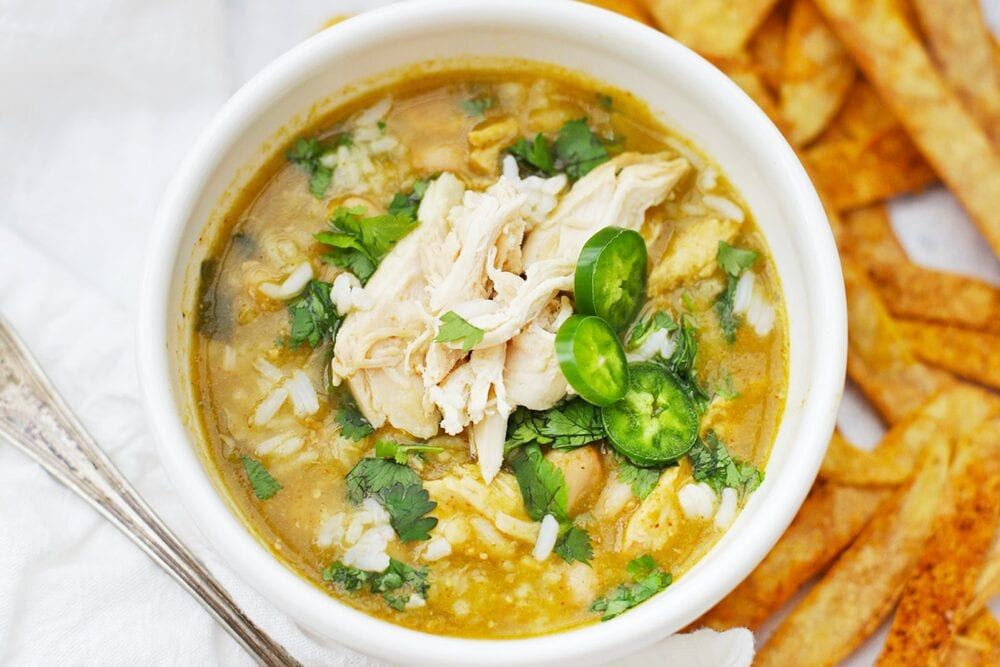 One Lovely Life's salsa verde chicken and rice soup, from Shelf Cooking