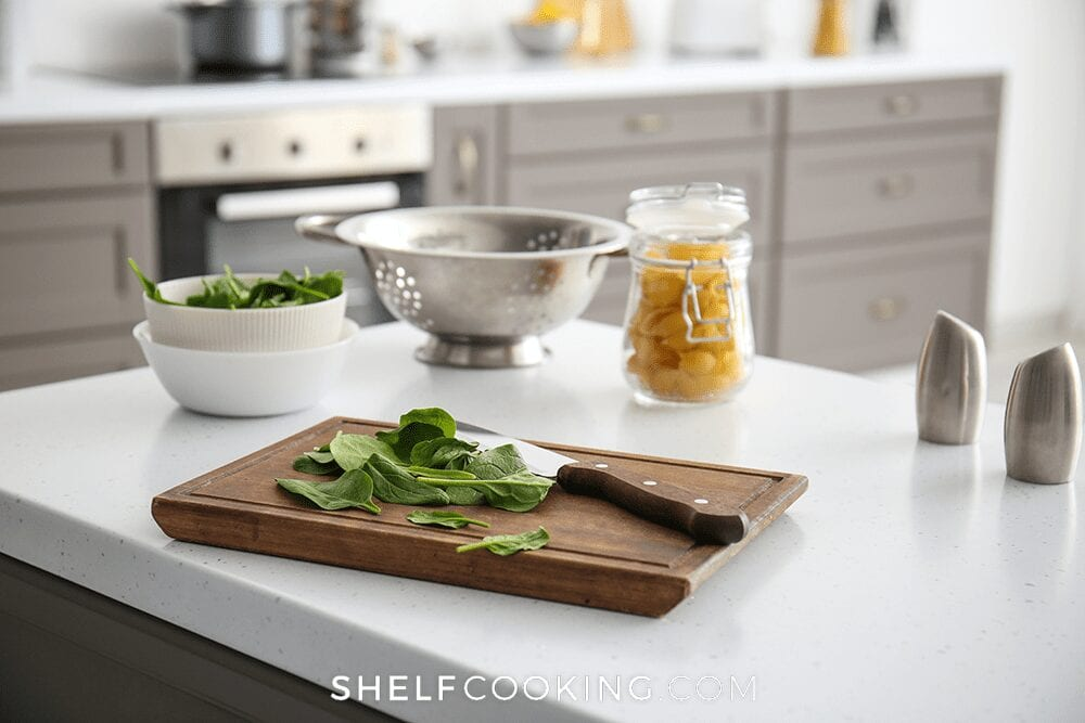 Cutting board on a counter, from Shelf Cooking