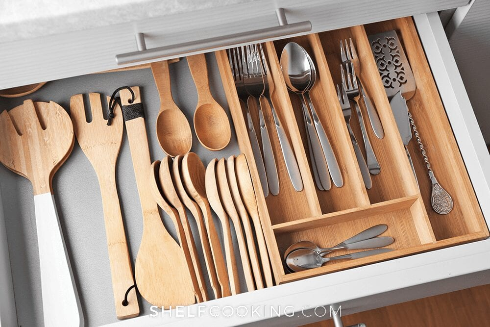 Utensils in a drawer, from Shelf Cooking