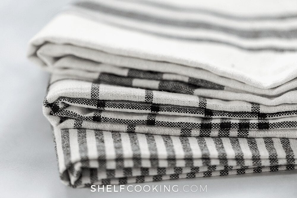 Stack of dish towels, from Shelf Cooking