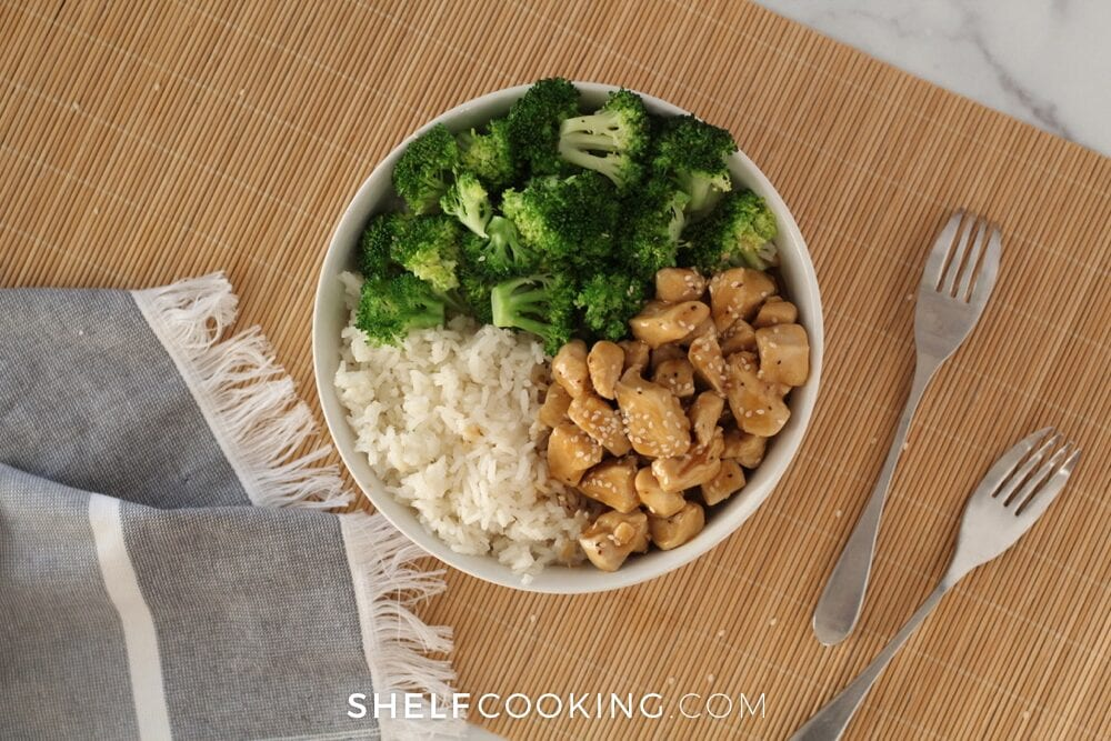 chicken, broccoli and rice in a bowl, from Shelf Cooking