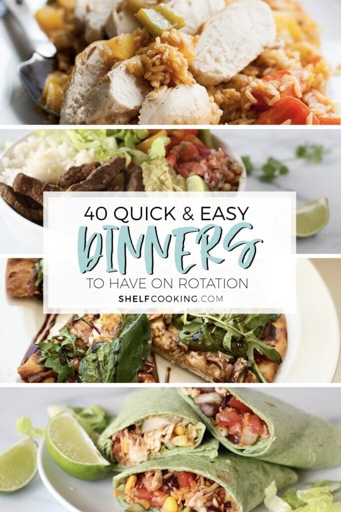 """Image with text that reads """"40 quick and easy dinners"""" from Shelf Cooking"""
