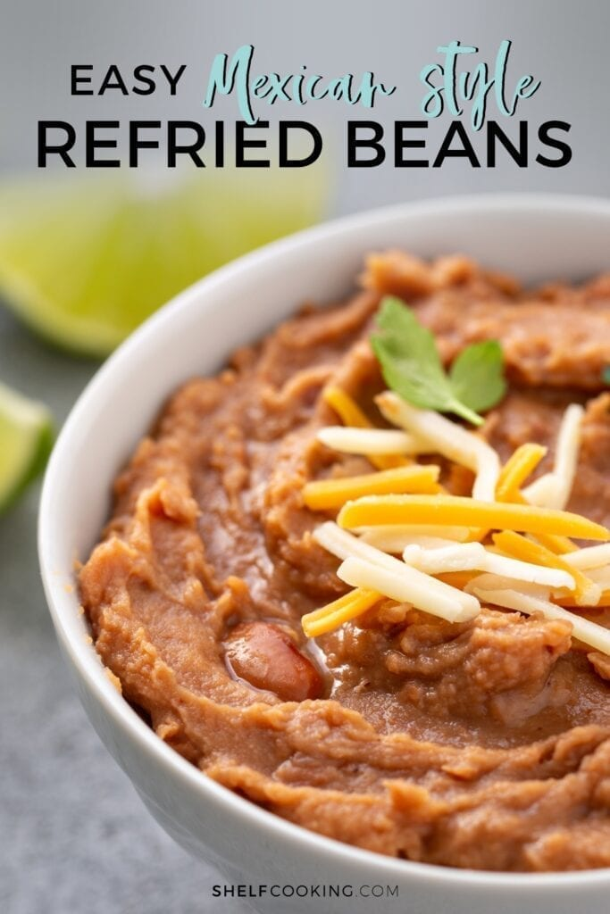 refried beans with cheese in a bowl, from Shelf Cooking