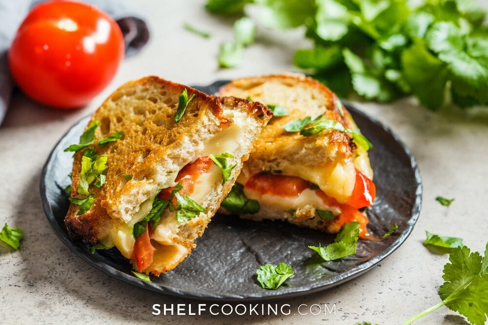 Leftover rustic bread as a grilled cheese sandwich on a plate, from Shelf Cooking