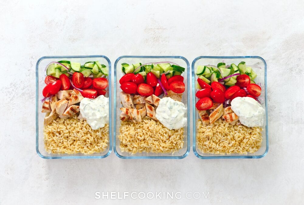 Three meal prep lunches in containers for lunch, from Shelf Cooking