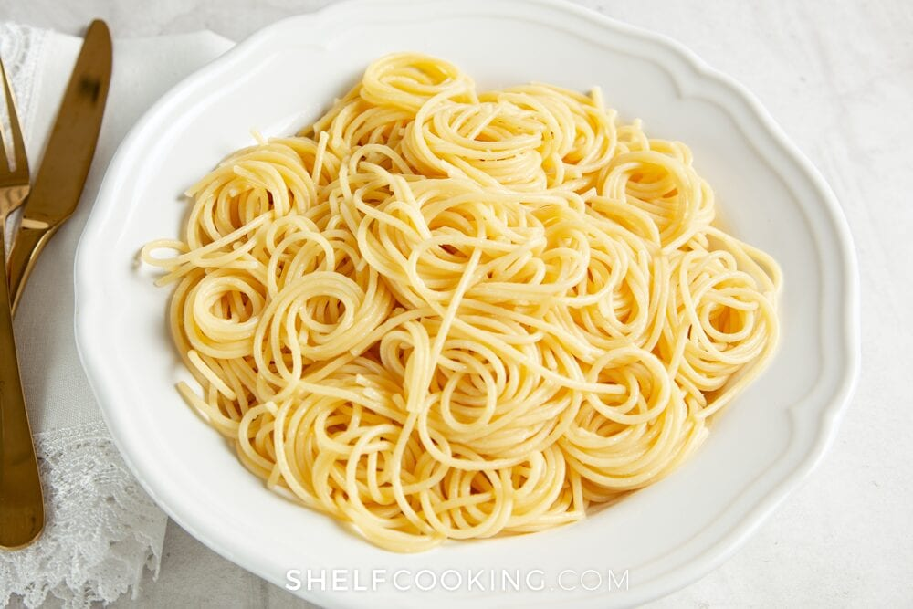 Pasta on a plate, from Shelf Cooking