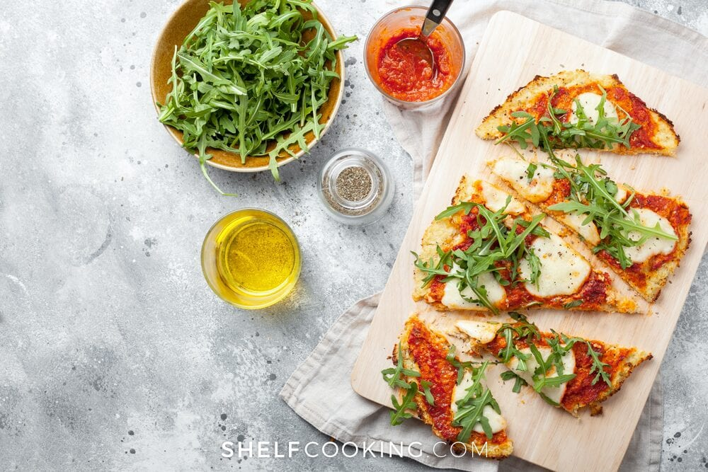 Pizza on a cutting board, from Shelf Cooking