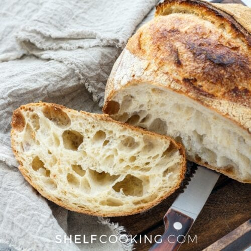 rustic bread on a cutting board, from Shelf Cooking