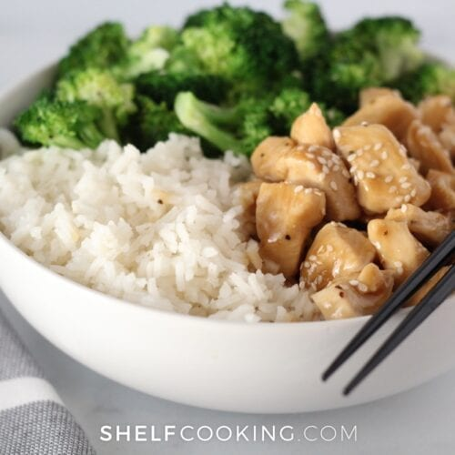 Teriyaki chicken bowl on a counter, from Shelf Cooking