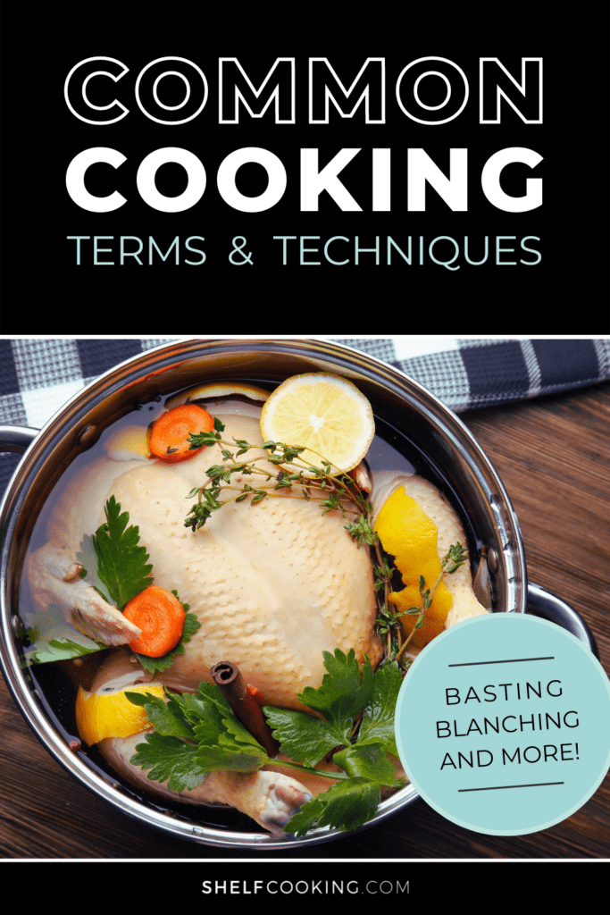 """Image with text that reads """"common cooking terms"""" from Shelf Cooking"""