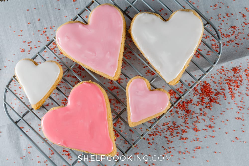 heart-shaped cookies on a cooling rack, from Shelf Cooking