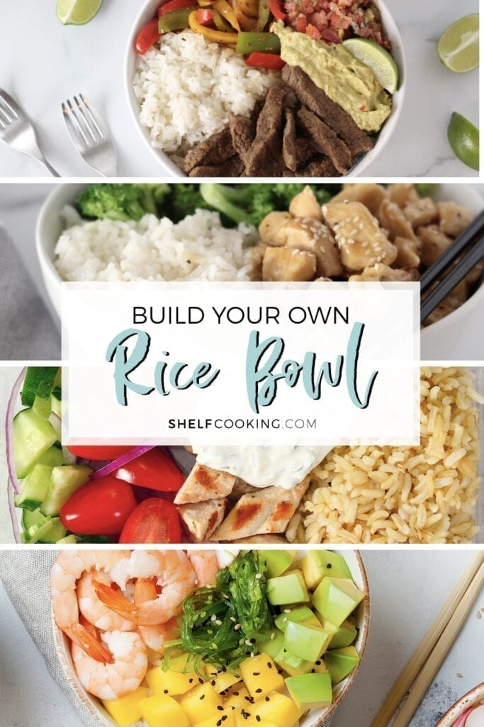 Four different rice bowl recipes on a counter, from Shelf Cooking