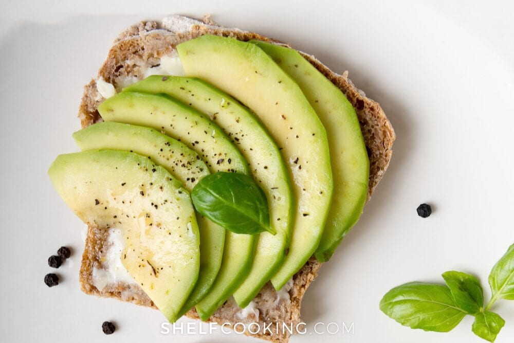 Sliced avocado on toast, from Shelf Cooking
