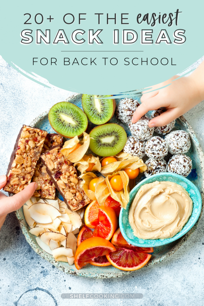 """Image with text that reads """"snack ideas for back to school"""", from Shelf Cooking"""