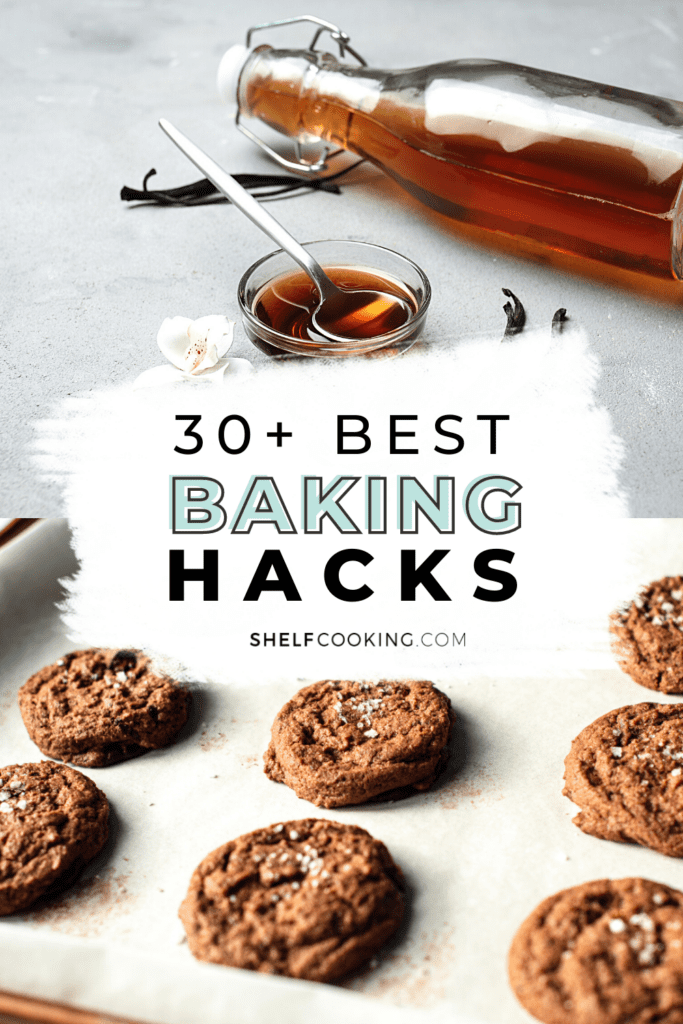 """Image with text that reads """"best baking hacks"""", from Shelf Cooking"""