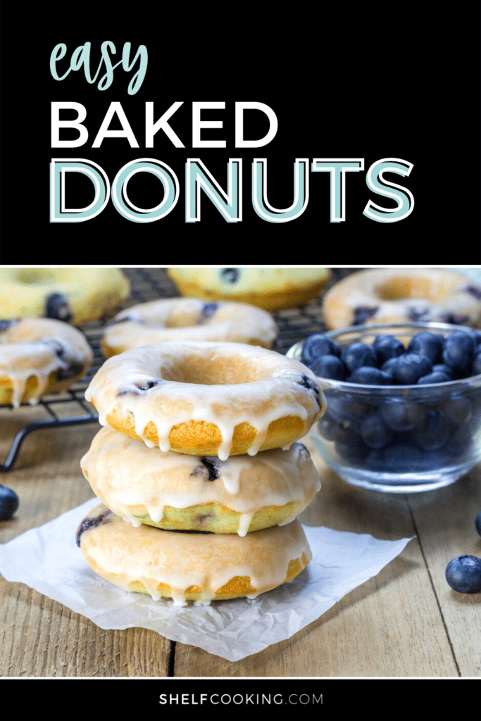 """image with text that reads """"easy baked donuts"""", from Shelf Cooking"""