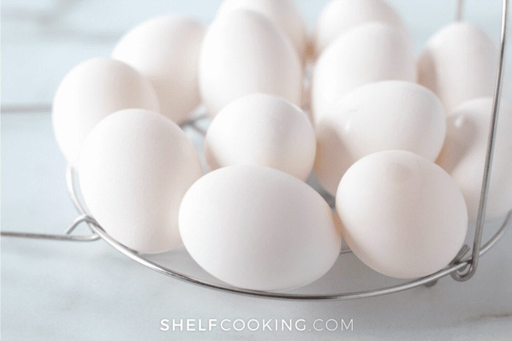 Closeup of hard-boiled eggs on a cooling rack, from Shelf Cooking