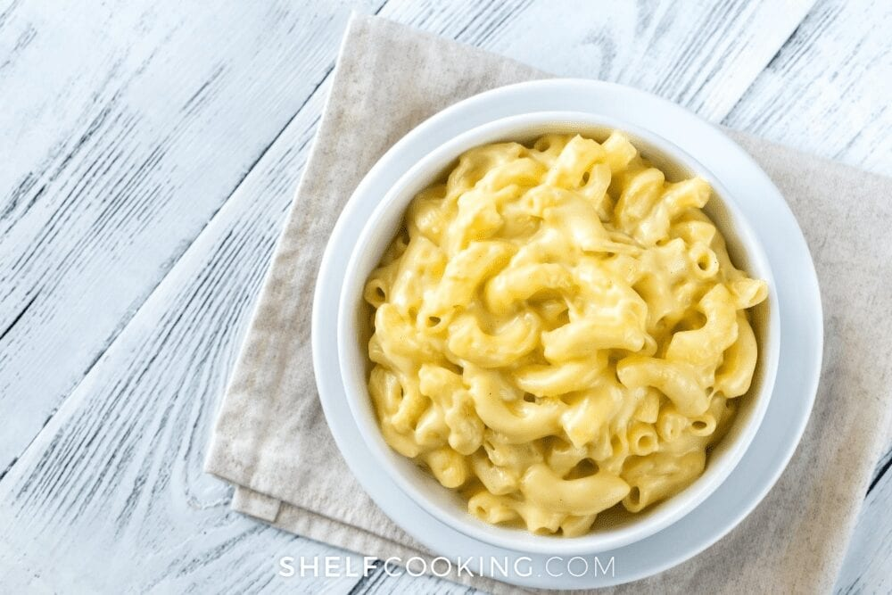 A big white bowl of creamy macaroni and cheese, from Shelf Cooking