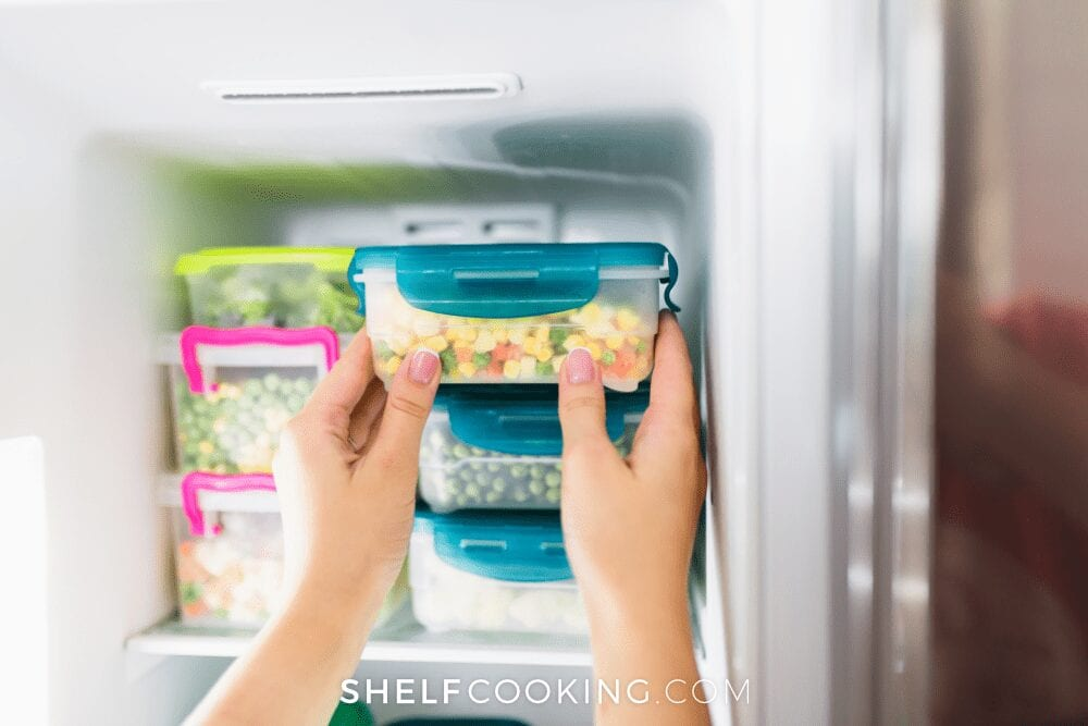 Frozen diced carrots, peas and corn in a freezer container, from Shelf Cooking