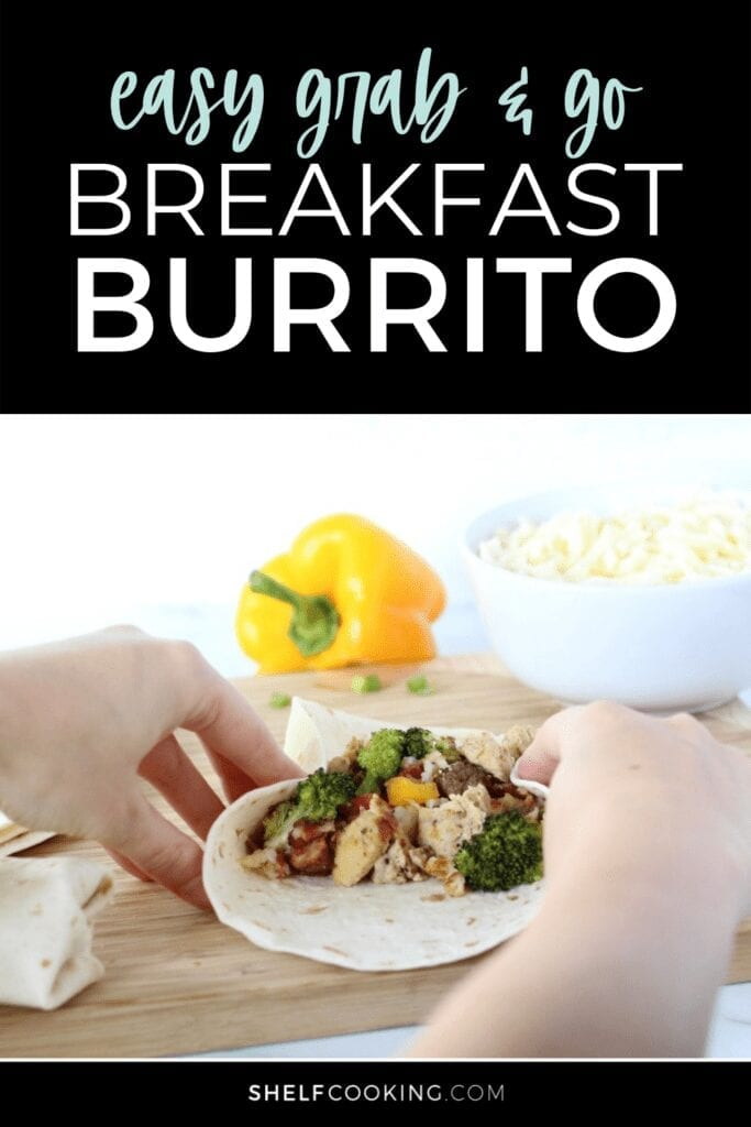 Hands rolling up a breakfast burrito, from Shelf Cooking