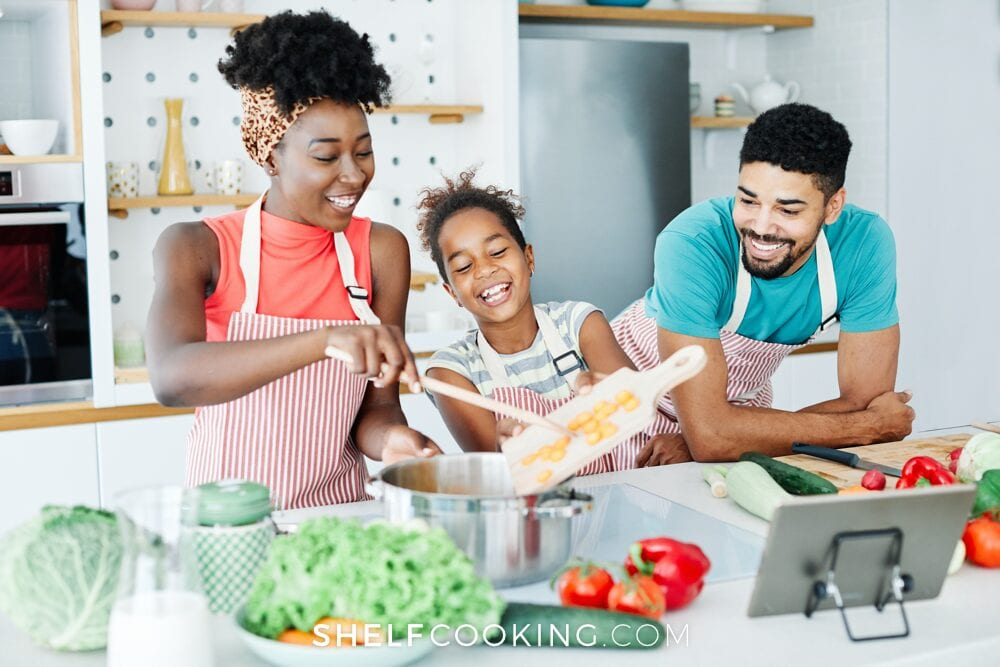 African American family cooking together, from Shelf Cooking