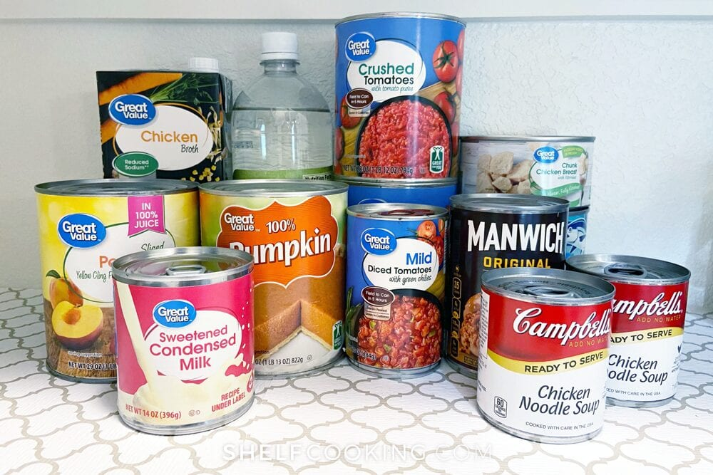 Canned goods on a shelf, from Shelf Cooking