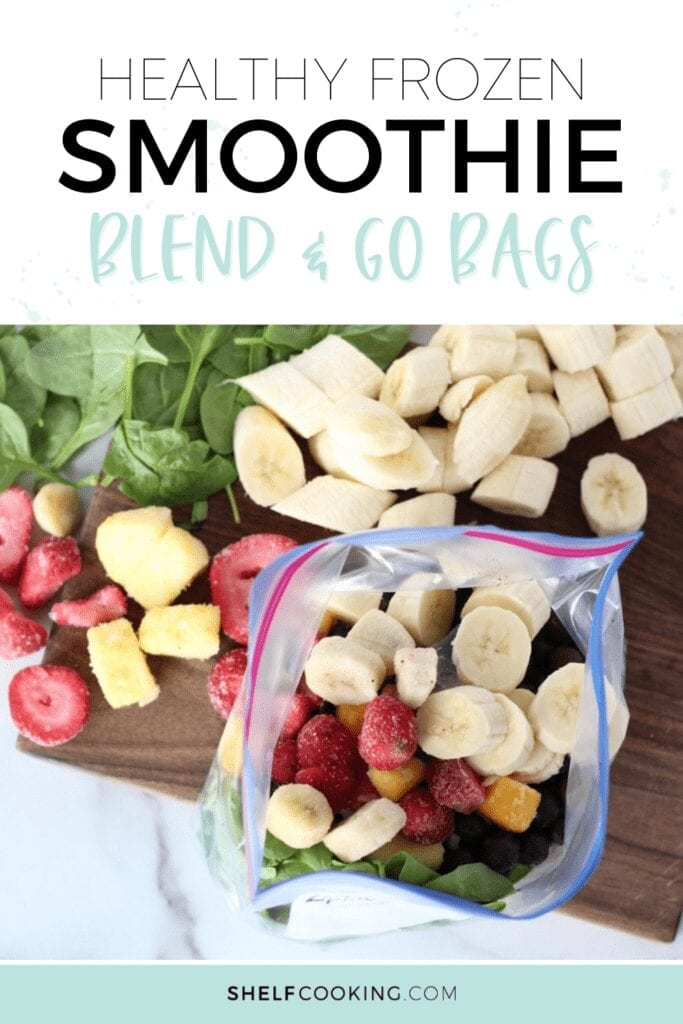 Frozen smoothie blend and go bags on a cutting board, from Shelf Cooking