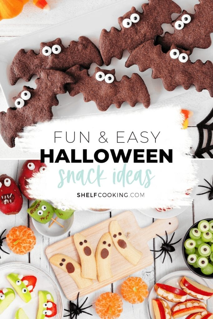 Halloween snack ideas on a counter, from Shelf Cooking