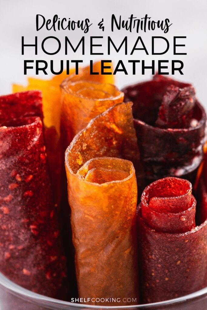 Rolled up homemade fruit leather from Shelf Cooking