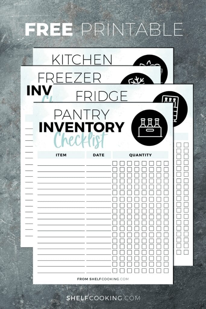 Kitchen inventory checklist printables on a counter, from ShelfCooking.com