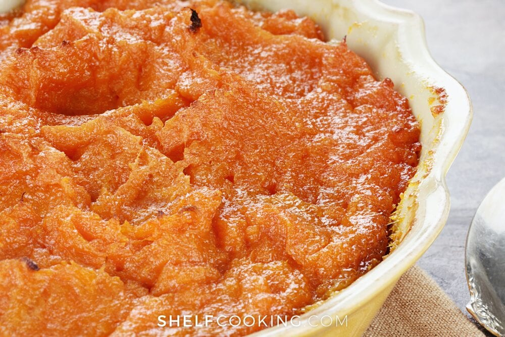 Cooked sweet potatoes in a baking dish, from Shelf Cooking