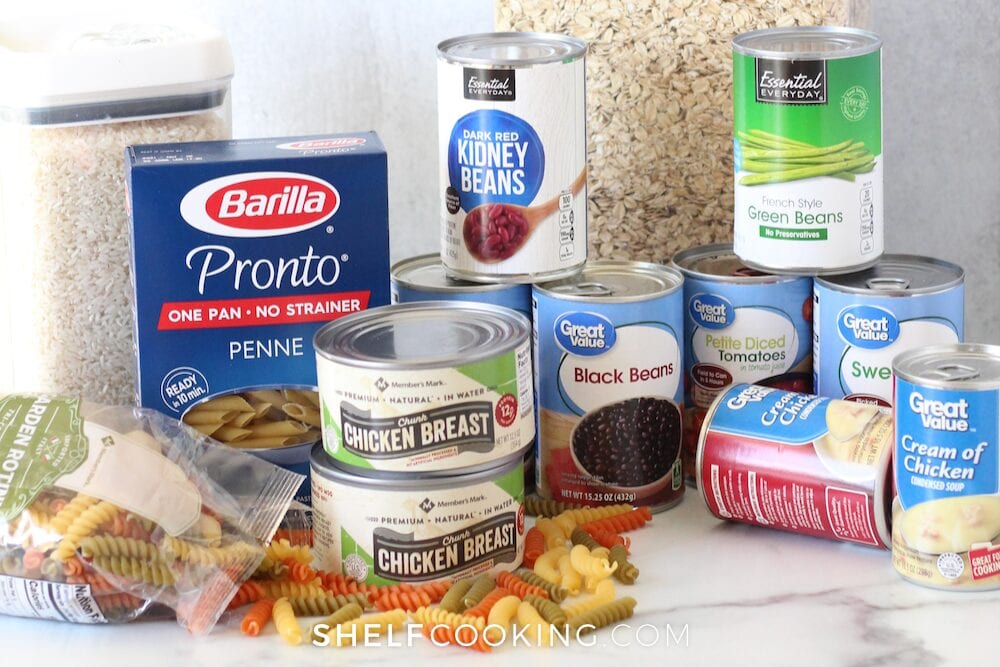 Various pantry staples on a counter, from Shelf Cooking