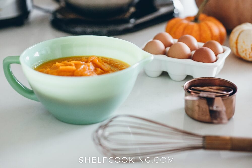 Mixing bowl and supplies on a counter, from Shelf Cooking
