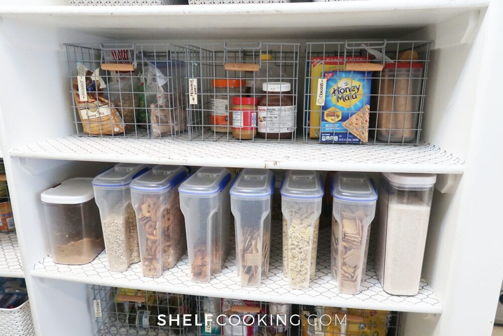 Organized pantry shelves filled with food, from Shelf Cooking