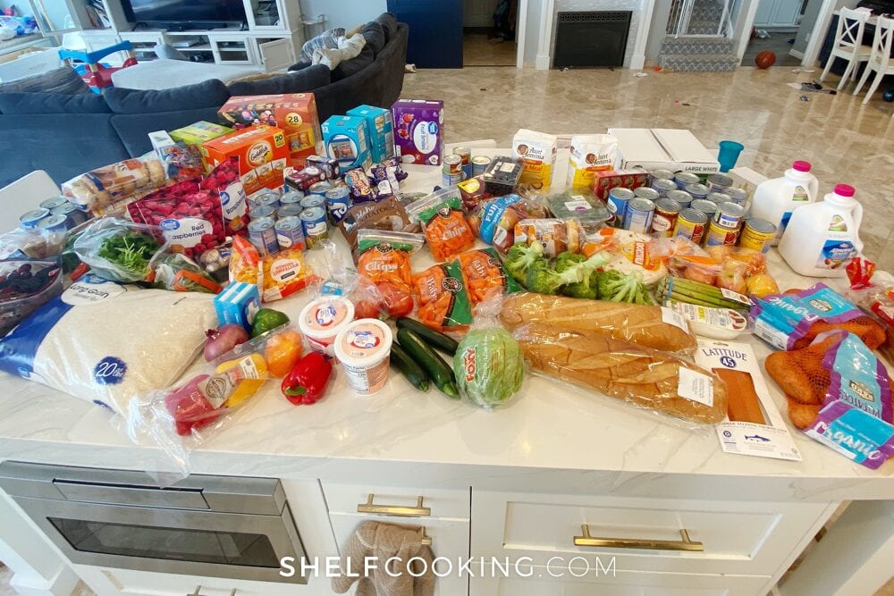 Stock up grocery trip items on a counter, from ShelfCooking.com