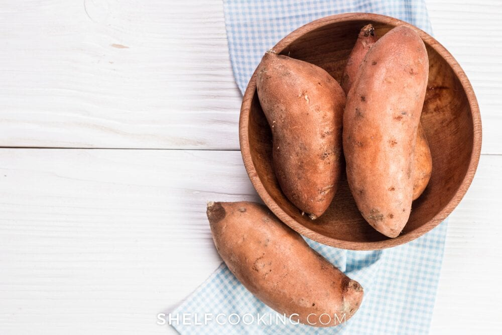 Sweet potatoes in a wooden bowl, from Shelf Cooking